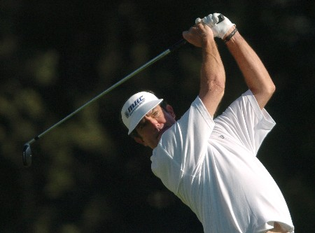 Bruce Lietzke tees off on the second hole during the first round of the Champions' Tour 2005 SBC Classic at  the Valencia Country Club in Valencia, California March 11, 2005.