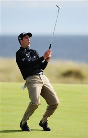 TURNBERRY, SCOTLAND - JULY 18:  Ross Fisher of England reacts to a missed putt on the 15th green during round three of the 138th Open Championship on the Ailsa Course, Turnberry Golf Club on July 18, 2009 in Turnberry, Scotland.  (Photo by Stuart Franklin/Getty Images)