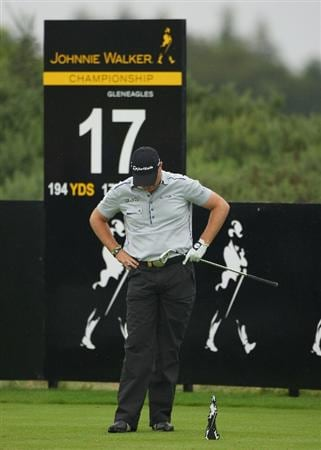 PERTH, UNITED KINGDOM - AUGUST 31:  Graeme Storm of England looks dejected after his tee-shot on the 17th hole during the final round of The Johnnie Walker Championship at Gleneagles on August 31, 2008 at the Gleneagles Hotel and Resort in Perthshire, Scotland.  (Photo by Andrew Redington/Getty Images)