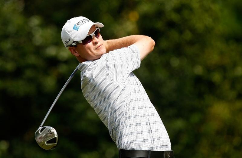 CHARLOTTE, NC - MAY 03:  Zach Johnson watches his tee shot on the 11th hole during the third round of the Quail Hollow Championship at the Quail Hollow Club on May 2, 2009 in Charlotte, North Carolina.  (Photo by Streeter Lecka/Getty Images)