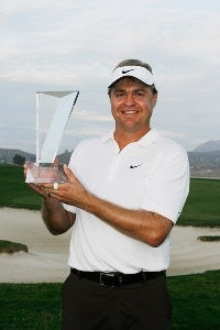 Richard Johnson holds the winner's trophy after the fourth round of the Nationwide Tour Championship at Barona Creek Golf Club on November 4, 2007 in Lakeside, California. Nationwide Tour - 2007 Nationwide Tour Championship at Barona Creek - Final RoundPhoto by Stan Badz/PGA TOUR/WireImage.com