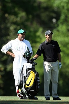 AUGUSTA, GA - APRIL 13:  Trevor Immelman of South Africa stands with his caddie Neal Wallace on the fifth hole during the final round of the 2008 Masters Tournament at Augusta National Golf Club on April 13, 2008 in Augusta, Georgia.  (Photo by David Cannon/Getty Images)