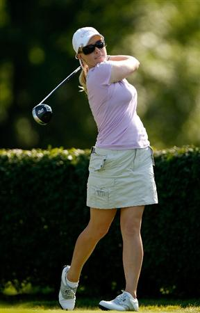 BETHLEHEM, PA - JULY 09:  Morgan Pressel watches her tee shot on the 15th hole during the first round of the 2009 U.S. Women's Open at Saucon Valley Country Club on July 9, 2009 in Bethlehem, Pennsylvania.  (Photo by Streeter Lecka/Getty Images)