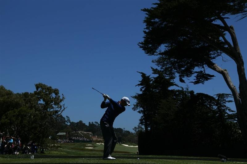 PEBBLE BEACH, CA - JUNE 16:  Jason Preeo hits a tee shot during a practice round prior to the start of the 110th U.S. Open at Pebble Beach Golf Links on June 16, 2010 in Pebble Beach, California.  (Photo by Donald Miralle/Getty Images)