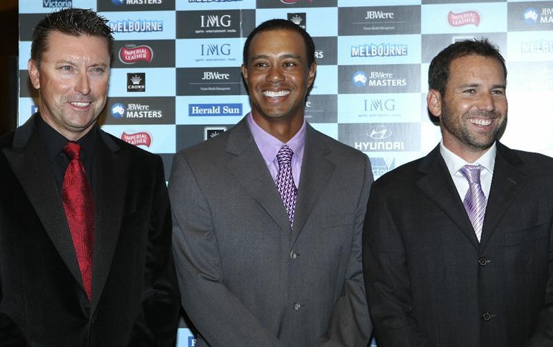 MELBOURNE, AUSTRALIA - NOVEMBER 09:  Robert Allenby,Tiger Woods and Sergio Garcia arrives at Crown's Australian Masters Gala Dinner at Crown Palladium on November 9, 2010 in Melbourne, Australia.  (Photo by Lucas Dawson/Getty Images)
