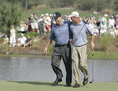 Rod Pampling and Jerry Kelly celebrate Pampling's birdie on the 18th hole during the third and final round of the Merrill Lynch Shootout at the Tiburon Golf Club in Naples, Florida on November 12, 2006. PGA TOUR - 2006 Merrill Lynch Shootout - Final RoundPhoto by Michael Cohen/WireImage.com