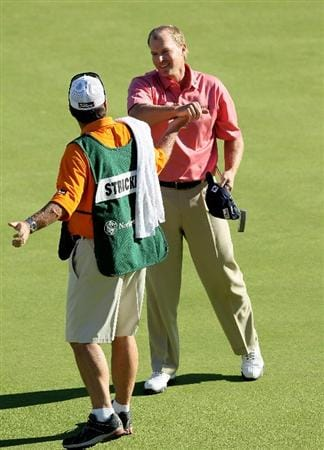 PACIFIC PALISADES, CA - FEBRUARY 07:  Steve Stricker celebrates with his caddy after making the final putt during the final round of the Northern Trust Open at Riviera Country Club on February 7, 2010 in Pacific Palisades, California.  (Photo by Stephen Dunn/Getty Images)