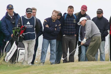 Des Smyth on the first hole during the third round of the 2005 Senior British Open at the Royal Aberdeen Golf Club in Aberdeen, Scotland on July 23, 2005.Photo by Newsline Scotland/WireImage.com