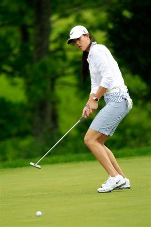 GLADSTONE, NJ - MAY 19:  Michelle Wie putts on the first hole during round one of the Sybase Match Play Championship at Hamilton Farm Golf Club on May 19, 2011 in Gladstone, New Jersey.  (Photo by Chris Trotman/Getty Images)