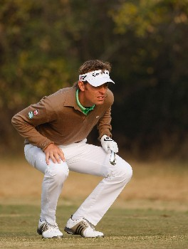 NEW DELHI, INDIA - FEBRUARY 08:  Raphael Jacquelin of France watches his approach shot on the 15th hole during the second round of the Emaar-MGF Indian Masters at the Delhi Golf Club on February 8, 2008 in Delhi, India.  (Photo by Stuart Franklin/Getty Images)