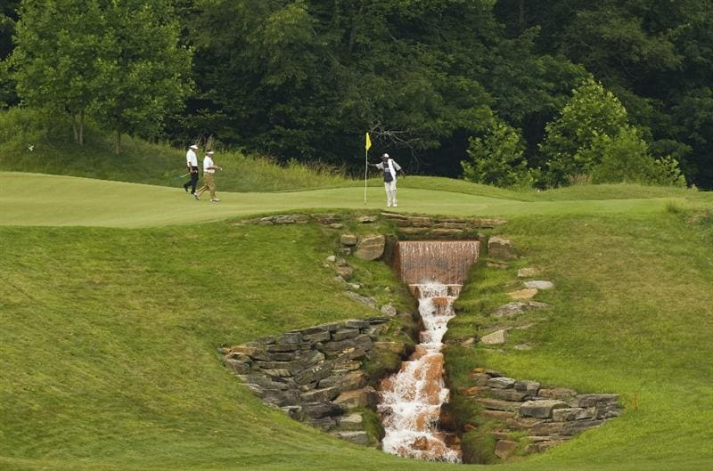 BRIDGEPORT, WV - JUNE 28: Brian Smock and Esteban Toledo walk to the first green during the final round of the Nationwide Tour Players Cup at Pete Dye Golf Club on June 28, 2009 in Bridgeport, West Virginia. (Photo by Chris Keane/Getty Images)