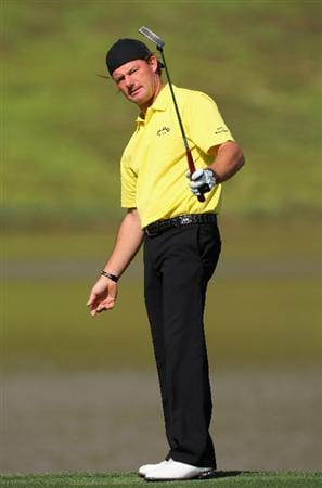 SHENZHEN, CHINA - NOVEMBER 27:  Alex Cejka of Germany reacts to his putt on the 15th hole during the first round of the Omega Mission Hills World Cup at the Mission Hills Resort on 27 November 2008 in Shenzhen, China.  (Photo by Stuart Franklin/Getty Images)