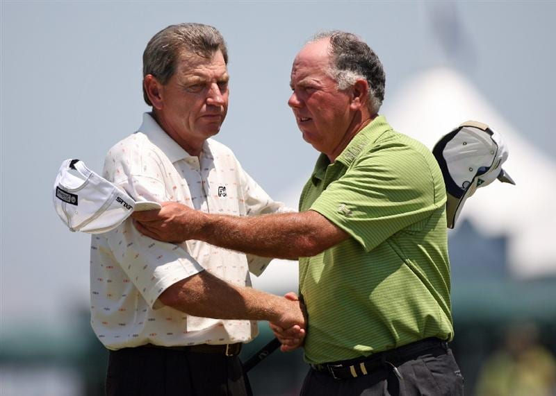 SAVANNAH, GA - APRIL 24:  (L-R) Nick Price of South Africa and playing partner Mark O'Meara shake hands on the 18th green during the first round of the Liberty Mutual Legends of Golf at the Westin Savannah Harbor Golf Resort and Spa on April 24, 2009 in Savannah, Georgia. (Photo by Hunter Martin/Getty Images)