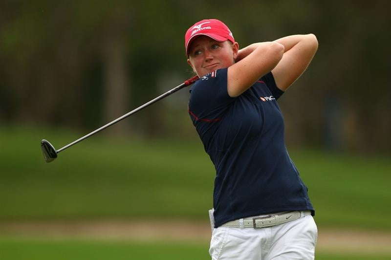 GOLD COAST, AUSTRALIA - MARCH 06:  Stacy Lewis of  the USA plays a fairway wood on the 3rd hole during round three of the 2010 ANZ Ladies Masters at Royal Pines Resort on March 6, 2010 in Gold Coast, Australia.  (Photo by Ryan Pierse/Getty Images)