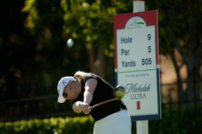 DANVILLE, CA - OCTOBER 15: Morgan Pressel follows through on a tee shot during the second round of the CVS/Pharmacy LPGA Challenge at Blackhawk Country Club on October 15, 2010 in Danville, California. (Photo by Darren Carroll/Getty Images)