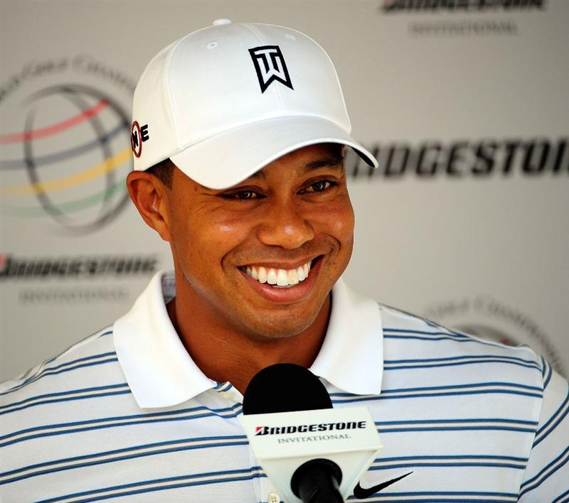 AKRON, OH - AUGUST 05:  Tiger Woods speaks to the media prior to the WGC-Bridgestone Invitational on the South Course at Firestone Country Club on August 5, 2009 in Akron, Ohio.  (Photo by Sam Greenwood/Getty Images)