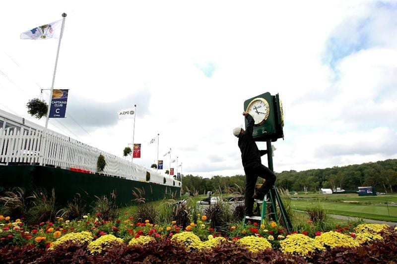 LOUISVILLE, KY - SEPTEMBER 15:  A clock is cleaned during the practice day prior to the 2008 Ryder Cup at Valhalla Golf Club of September 15, 2008 in Louisville, Kentucky.  (Photo by Harry How/Getty Images)