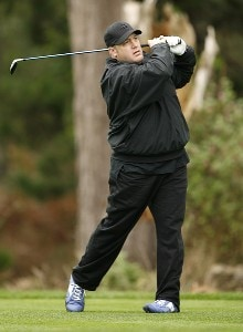 Kevin James during the AT&T Pebble Beach Pro-Am at Spyglass Hill on Thursday, February 8 in Pebble Beach, California. Photo by Hunter Martin/WireImage.com