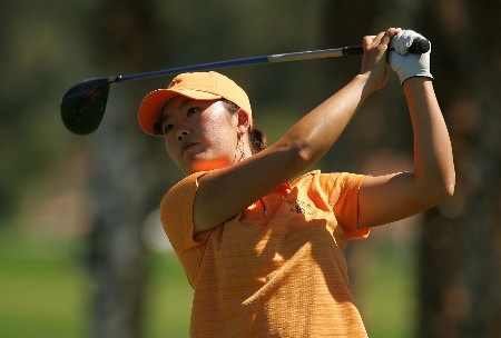 RANCHO MIRAGE, CA - MARCH 30: Angela Park hits her tee shot on the seventh hole during the second round of the Kraft Nabisco Championship at Mission Hills Country Club on March 30, 2007 in Rancho Mirage, California. (Photo by Scott Halleran/Getty Images)