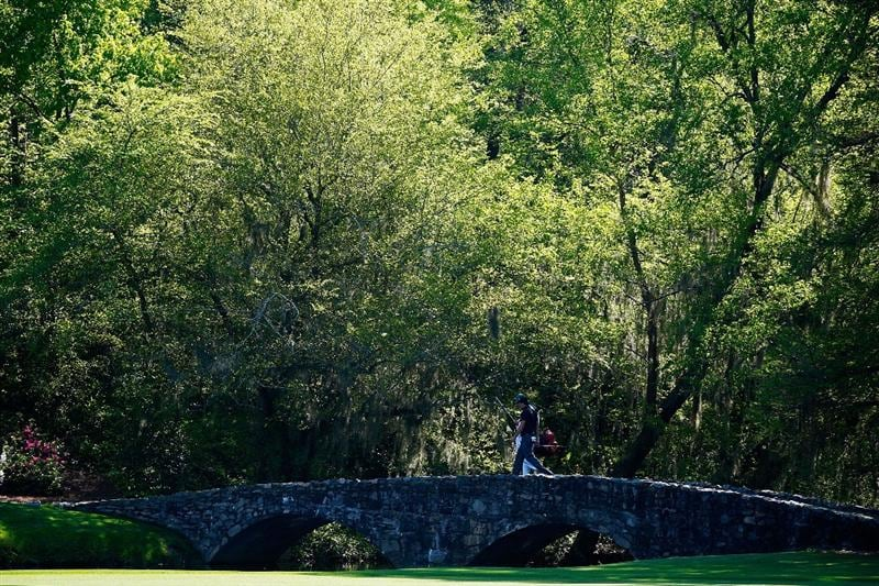 AUGUSTA, GA - APRIL 12:  Phil Mickelson and his caddie Jim MacKay cross Nelson Bridge during the final round of the 2009 Masters Tournament at Augusta National Golf Club on April 12, 2009 in Augusta, Georgia.  (Photo by Jamie Squire/Getty Images)