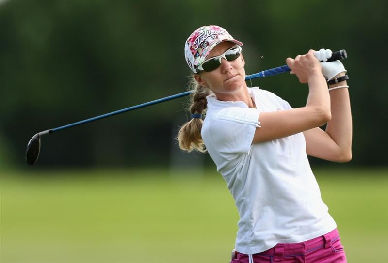 SPRINGFIELD, IL - JUNE 05:  Kris Tamulis hits her second shot on the 13th hole during the second round of the LPGA State Farm Classic golf tournament at Panther Creek Country Club on June 5, 2009 in Springfield, Illinois.  (Photo by Christian Petersen/Getty Images)
