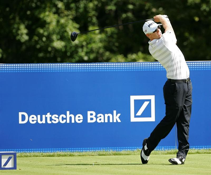 NORTON, MA - SEPTEMBER 06:  Hunter Mahan hits his drive on the 14th hole during the third round of the Deutsche Bank Championship at TPC Boston held on September 6, 2009 in Norton, Massachusetts.  (Photo by Michael Cohen/Getty Images)