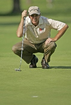Jerry Pate lines up his birdie putt on #9 during the second round of the 2005 Senior PGA Championship at Laurel Valley Golf Club - Ligonier, Pennsylvania. May 27, 2005Photo by Christopher Condon/WireImage.com