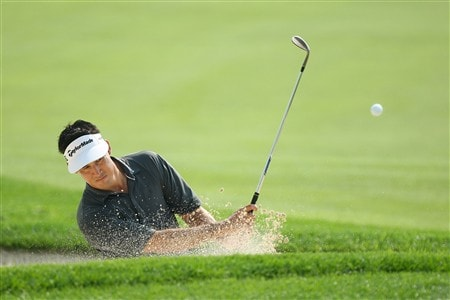 BLOOMFIELD HILLS, MI - AUGUST 05:  Dean Wilson plays from a bunker during a practice round prior to the 90th PGA Championship at Oakland Hills Country Club on August 5, 2008 in Bloomfield Township, Michigan.  (Photo by David Cannon/Getty Images)