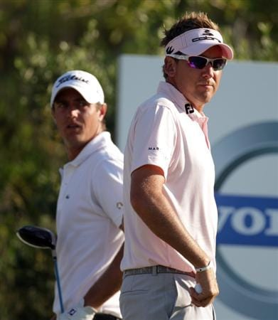 CASARES, SPAIN - MAY 22:  Ian Poulter of England and Nicolas Colsaerts of Belgium during the semi-final of the Volvo World Match Play Championship at Finca Cortesin on May 22, 2011 in Casares, Spain.  (Photo by Ross Kinnaird/Getty Images)