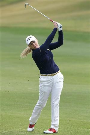 SHIMA, JAPAN - NOVEMBER 07:  Morgan Pressel of the United States plays an approach shot on the 4th hole during the final round of the Mizuno Classic at Kintetsu Kashikojima Country Club on November 7, 2010 in Shima, Mie, Japan.  (Photo by Kiyoshi Ota/Getty Images)