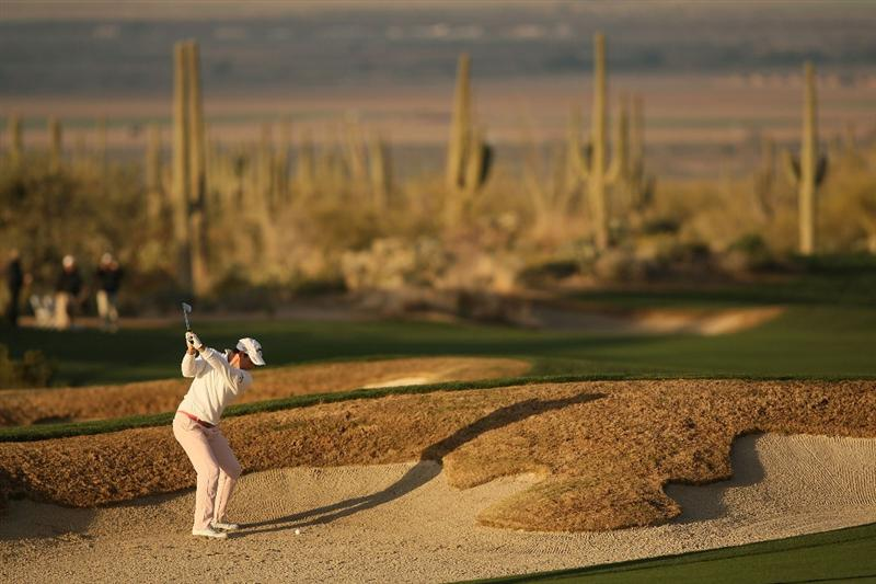 MARANA, AZ - FEBRUARY 20:  Oliver Wilson of England plays his second shot on the second hole during round four of the Accenture Match Play Championship at the Ritz-Carlton Golf Club on February 20, 2010 in Marana, Arizona.  (Photo by Darren Carroll/Getty Images)
