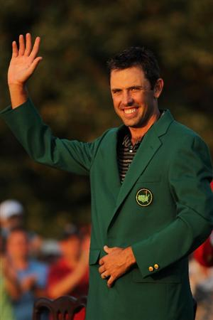 AUGUSTA, GA - APRIL 10:  Charl Schwartzel of South Africa waves to the gallery at the green jacket presentation after his two-stroke victory at the 2011 Masters Tournament at Augusta National Golf Club on April 10, 2011 in Augusta, Georgia.  (Photo by Jamie Squire/Getty Images)