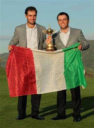 NEWPORT, WALES - OCTOBER 04:  (L-R) European Team members Edoardo and Francesco Molinari pose with the Ryder Cup following Europe's 14.5 to 13.5 victory over the USA at the 2010 Ryder Cup at the Celtic Manor Resort on October 4, 2010 in Newport, Wales.  (Photo by David Cannon/Getty Images)
