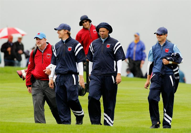 NEWPORT, WALES - SEPTEMBER 29:  (L-R) Hunter Mahan, Stewart Cink and Zach Johnson of the USA walk together during a practice round prior to the 2010 Ryder Cup at the Celtic Manor Resort on September 29, 2010 in Newport, Wales. (Photo by Sam Greenwood/Getty Images)