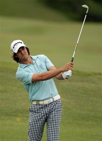 CASARES, SPAIN - MAY 20:  Aaron Baddeley of Australia during the group stages of the Volvo World Match Play Championship at Finca Cortesin on May 20, 2011 in Casares, Spain.  (Photo by Ross Kinnaird/Getty Images)