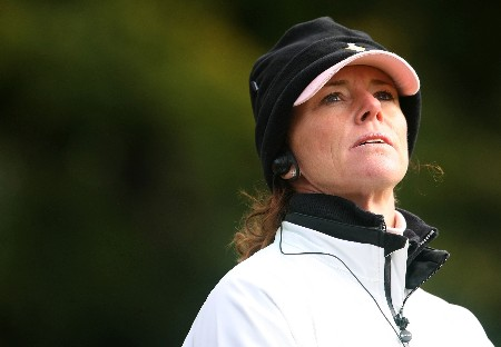 HALMSTAD, SWEDEN - SEPTEMBER 15:  European Team Captain Helen Alfredsson watches the play during the morning foursome matches of the 2007 Solheim Cup at on September 15, 2007 in Halmstad, Sweden.  (Photo by Scott Halleran/Getty Images)