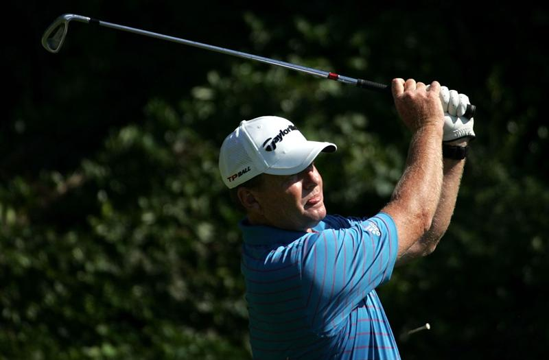 WOODLANDS, TX - OCTOBER 19:  Lonnie Nielsen tees off on the thrid hole during the final round of the Administaff Small Business Classic at the Woodlands Country Club on October 19, 2008 in Woodlands, Texas. (photo by Marc Serota/ Getty Images)