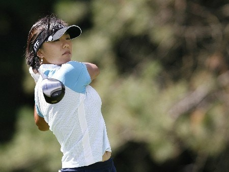SYLVANIA, OH - JULY 12:  Mi Hyun Kim of Korea hits her tee shot on the 18th hole during the first round of the Jamie Farr Owens Corning Classic at Highland Meadows Golf Club July 12, 2007 in Sylvania, Ohio. (Photo by Hunter Martin/Getty Images)
