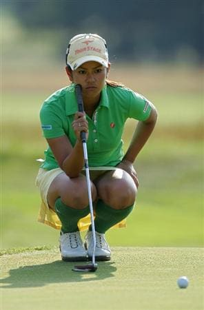 GALLOWAY, NJ - JUNE 19:  Ai Miyazato of Japan lines up a putt during the second round of the ShopRite LPGA Classic held at Dolce Seaview Resort (Bay Course) on June 19, 2010 in Galloway, New Jersey.  (Photo by Michael Cohen/Getty Images)