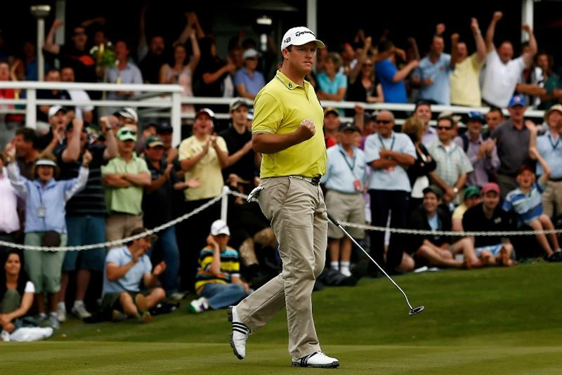 MELBOURNE, AUSTRALIA - NOVEMBER 30:  Marcus Fraser of Australia celebrates sinking a put during the sudden death hole during the fourth round of the 2008 Australian Masters at Huntingdale Golf Club on November 30, 2008 in Melbourne, Australia  (Photo by Quinn Rooney/Getty Images)