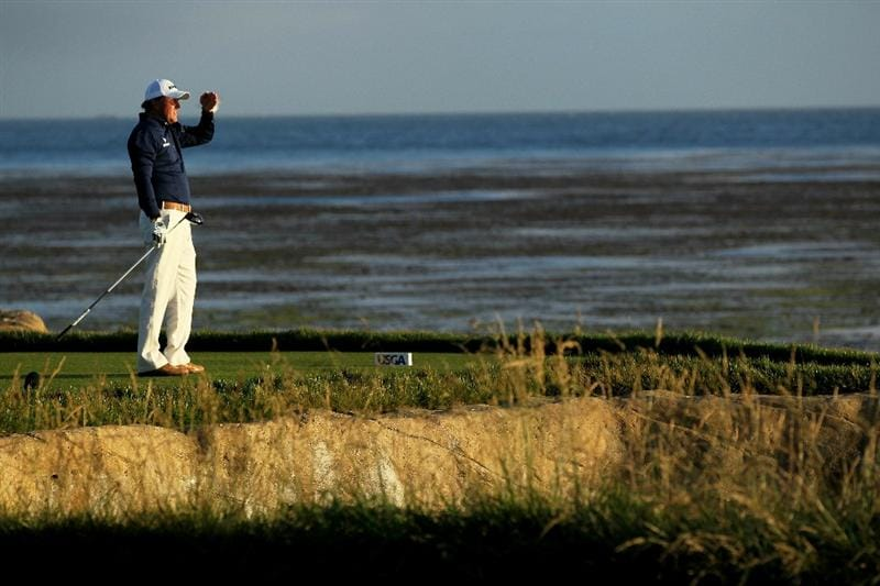 PEBBLE BEACH, CA - JUNE 19:  Phil Mickelson watches his tee shot on the 18th hole during the third round of the 110th U.S. Open at Pebble Beach Golf Links on June 19, 2010 in Pebble Beach, California.  (Photo by Jeff Gross/Getty Images)