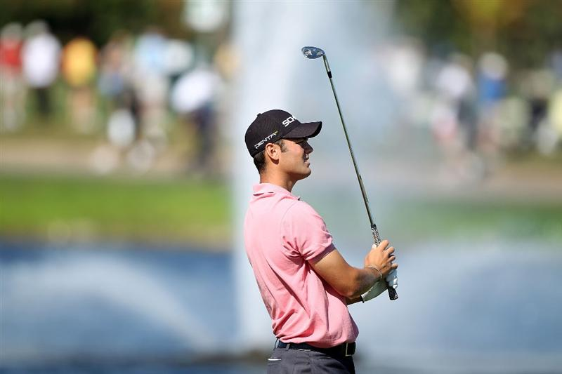DORAL, FL - MARCH 13:  Martin Kaymer of Germany plays a shot on the 18th hole during round three of the 2010 WGC-CA Championship at the TPC Blue Monster at Doral on March 13, 2010 in Doral, Florida.  (Photo by Scott Halleran/Getty Images)