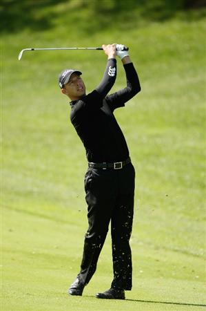 GIRONA, SPAIN - MAY 01:  Soren Hansen of Denmark plays his second shot into the 18th green during the second round of the Open de Espana at the PGA Golf Catalunya on May 1, 2009 in Girona, Spain.  (Photo by Warren Little/Getty Images)