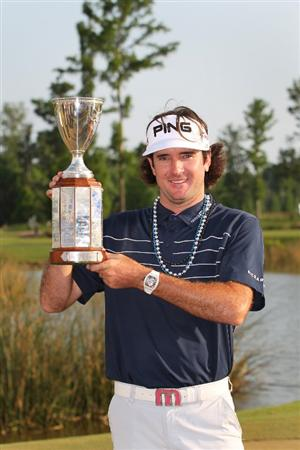 NEW ORLEANS, LA - MAY 1:  Bubba Watson holds the championship trophy after winning the Zurich Classic at the TPC Louisiana on May 1, 2011 in New Orleans, Louisiana. (Photo by Hunter Martin/Getty Images)