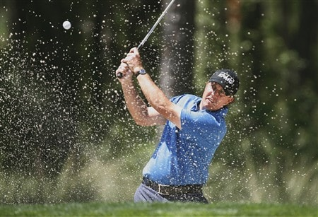 HOUSTON, TX - APRIL 5: Phil Mickelson hits his second shot on the ninth hole during the third round of the Shell Houston Open at Redstone Golf Club April 5, 2008 in Houston, Texas. (Photo by Hunter Martin/Getty Images)