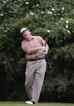 Joey Sindelar tees off during first-round competition March 3, 2005  at the Ford Championship at Doral in Miami.