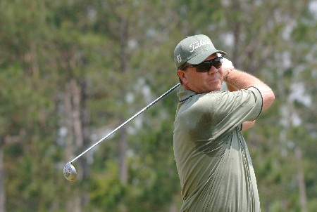 Mike Sullivan  drives from the fifth tee  during   the final  round of the 2005 Blue Angels Classic  May 15 in Milton, Fl.Photo by Al Messerschmidt/WireImage.com