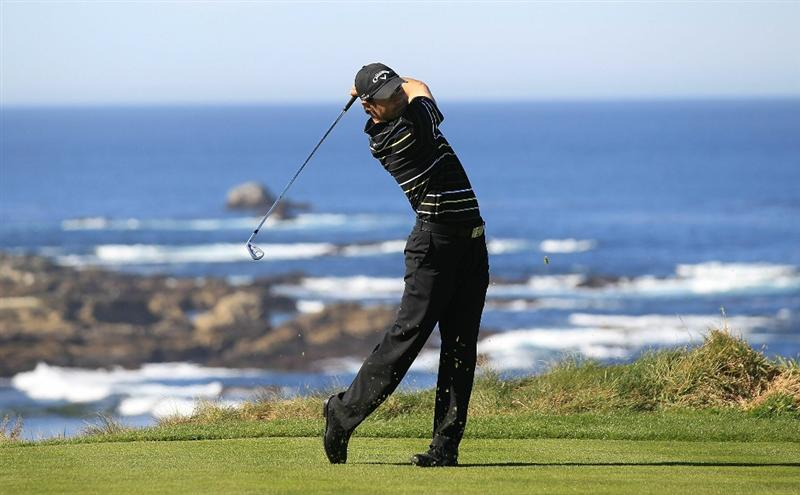 PEBBLE BEACH, CA - FEBRUARY 11:  Trevor Immelman of South Africa hits from the third tee at the AT&T Pebble Beach National Pro-Am- Round Two at the Spyglass golf club on February 11, 2011 in Pebble Beach, California.  (Photo by Jed Jacobsohn/Getty Images)