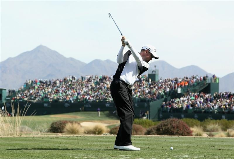 SCOTTSDALE, AZ - FEBRUARY 05:  Brian Davis hits a tee shot on the 16th hole during the second round of the Waste Management Phoenix Open at TPC Scottsdale on February 5, 2011 in Scottsdale, Arizona.  (Photo by Christian Petersen/Getty Images)