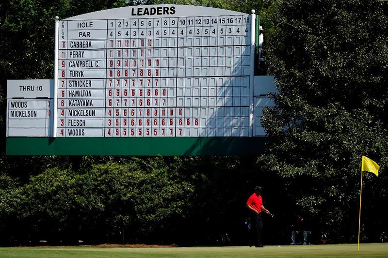 AUGUSTA, GA - APRIL 12:  Tiger Woods walks off the 11th green during the final round of the 2009 Masters Tournament at Augusta National Golf Club on April 12, 2009 in Augusta, Georgia.  (Photo by Jamie Squire/Getty Images)